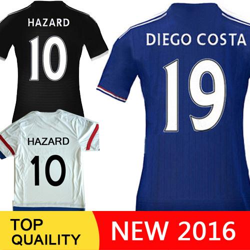 New! Free shipping Oscar Hazard Chelsea Jersey Diego Costa Chelsea 2016 survetement Football 15 16 Home Away Soccer Jerseys(China (Mainland))