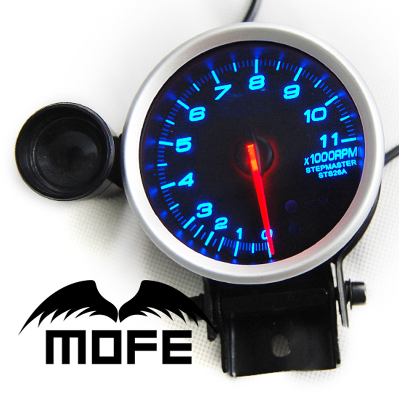 SPECIAL OFFER Original Logo Blue LED Tachometer 80mm Gauge With Stepper Motor + 11K RPM + Shift Light(China (Mainland))
