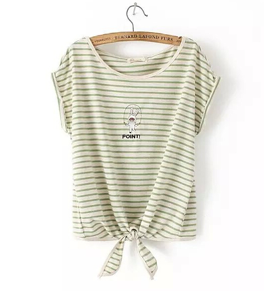 2015 summer new fashion o-neck short sleeve cotton T-shirt sweet girls striped tie rabbit embroidered t shirt free shipping(China (Mainland))