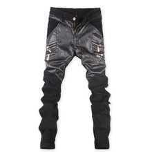 Free Shipping,high fashion men 2016 famous brand jeans mens PU denim jeans for men black italian jeans(China (Mainland))