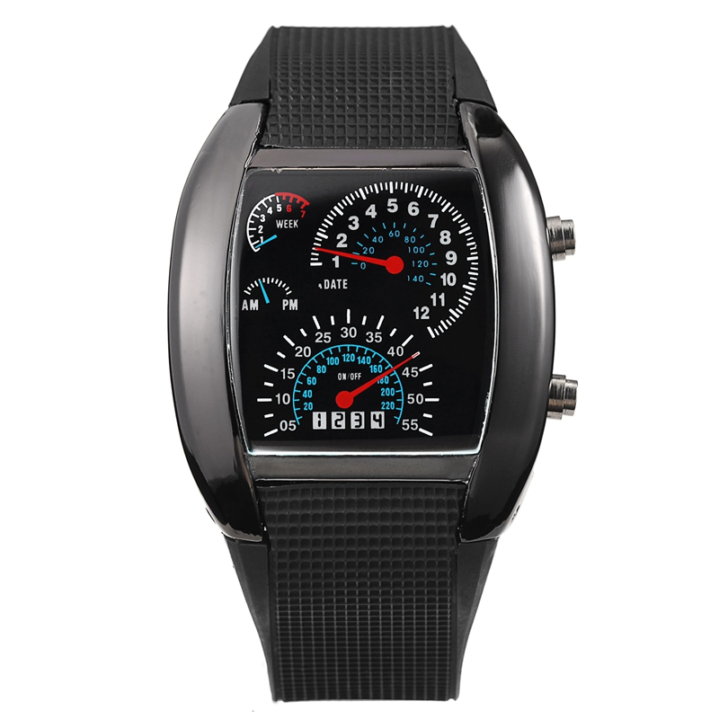 Men Sports Watches LED Digital Watch Black Silicone Watchband Racing Car Aviation Speed Meter Men Military Wristwatch Relogio(China (Mainland))