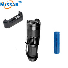 RUZK50 CREE 2000LM Mini LED Flashlight Adjustable LED Torch Focus Zoom Lamp+14500 2000mAh Battery+Battery Rechargeable Charger(China (Mainland))