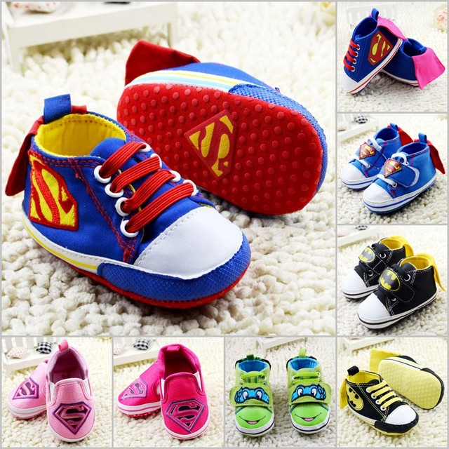 New 2016 Fashion Superman Boy Girl baby shoes 14 Colors Choose Cartoon baby casual shoes baby toddler shoes first walkers