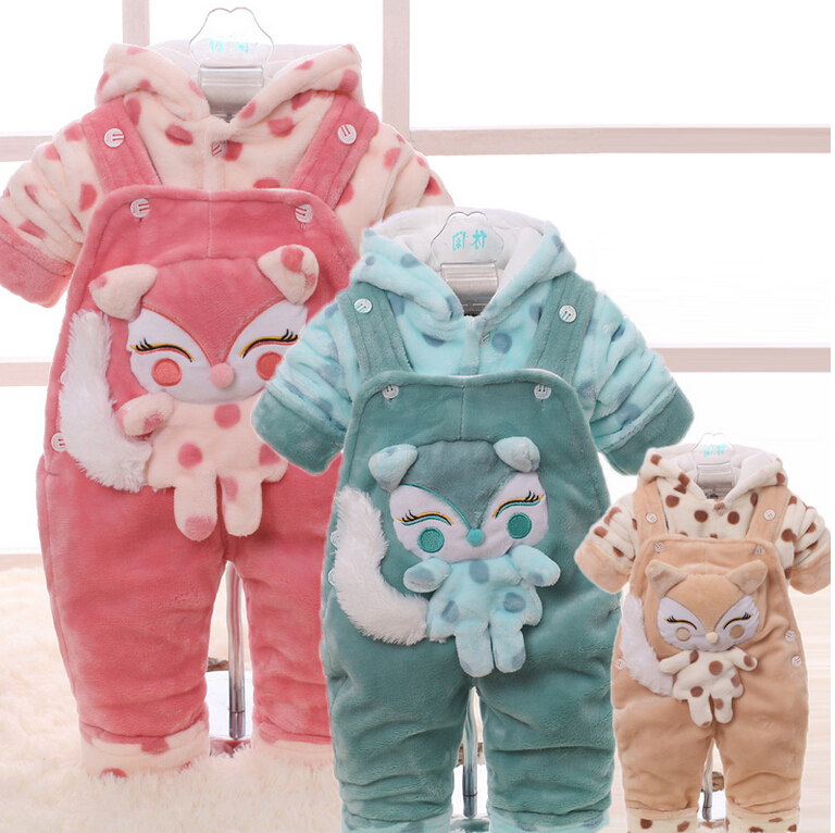 New arrival Baby clothes winter thicken 0-1-2 years old baby overalls suit men and women go out take cotton-padded clothes(China (Mainland))