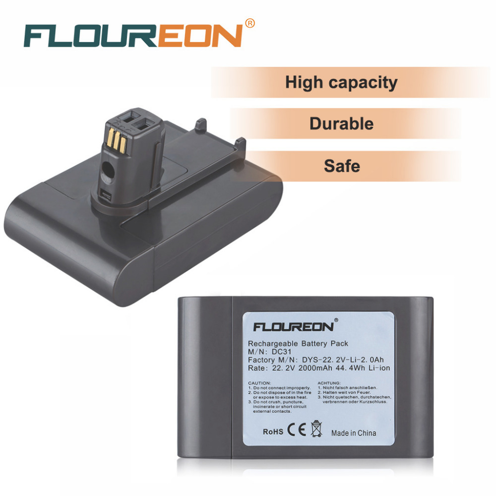 22.2V 2000mAh FLOUREON Rechargeable Packs Replacement for Dyson DC31 Animal DC34 DC35 Vacuum Cleaner 6 Cells Li-Ion Battery(China (Mainland))