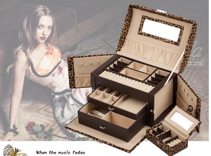 Здесь можно купить  Free Shipping 8 colors leatherware stock Jewelry box princess fashion large capacity High-end cosmetic box married birthday gift  Ювелирные изделия и часы