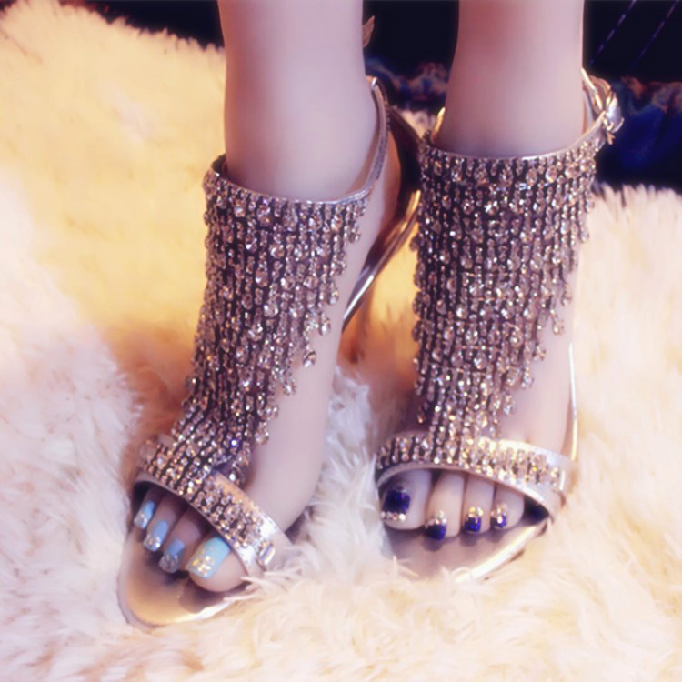 Handmade Sandalia Gladiadora Bling Beading Tassel Wedding Shoes Womans Peep Toe Party Sexy High Heels Rhinestone Silver Sandals(China (Mainland))