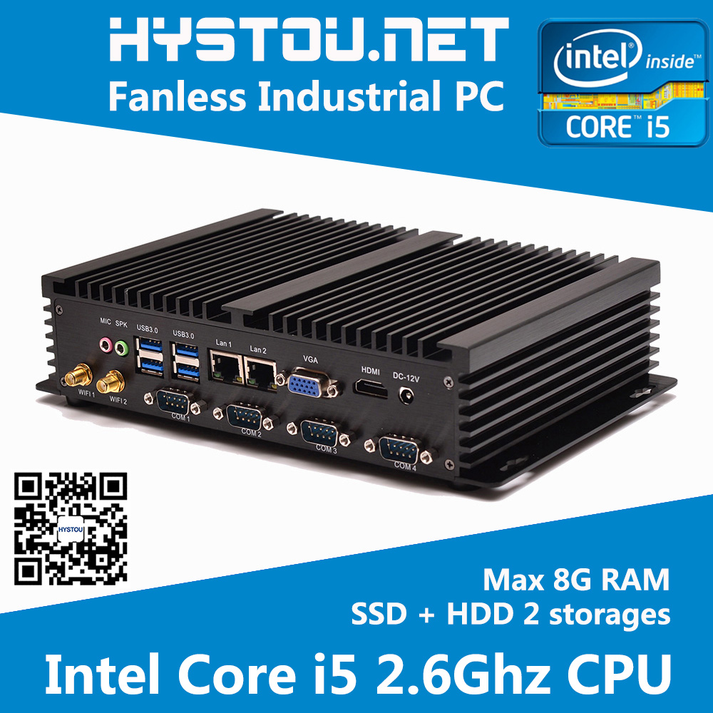 Embedded Fanless PC with Rack Mount Computer Case Ivy Bridge Intel Core i5 CPU with 4G RAM 128G SSD(China (Mainland))