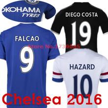 Soccer Jerseys Chelsea 2016 Chelsea fc 15/16 FALCAO DIEGO COSTA HAZARD OSCAR Fabregas Blue White Black Shirts Camisetas Camisas(China (Mainland))