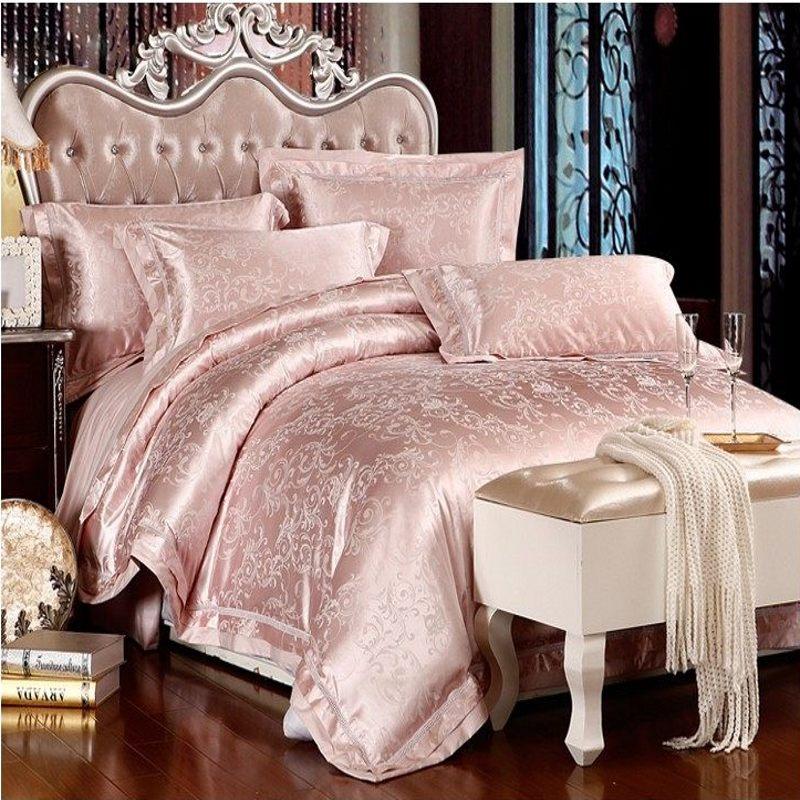 Aliexpress Com Buy 4 6pcs Jacquard Silk Bedding Set