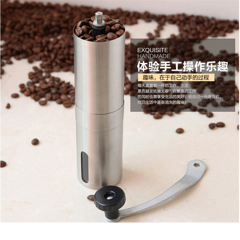 Stainless steel Manual Coffee bean Mill Hand Coffee Grinder Machine tool Size can be controlled(China (Mainland))