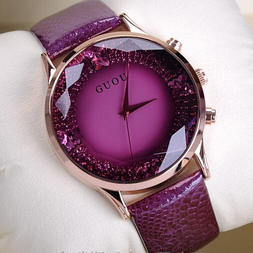 Women Original Diamond Watches Lady Luxury Wristwatches Genuine Leather GUOU Dress Watch Women Rhinestone Watches Fashion Hours<br><br>Aliexpress