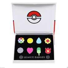 Cosplay Anime Pocket Monster Mr. Froger  Pokemon Go Gym Badges Pin 8pcs Pin Kanto League Brooch With box