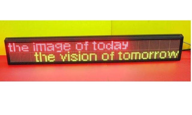 P7.62mm indoor used led screen,red and green color;16*128mm Pixel Resolution;size:160*1008*80mm;2 lines words;P/N:M500N-16*128RG