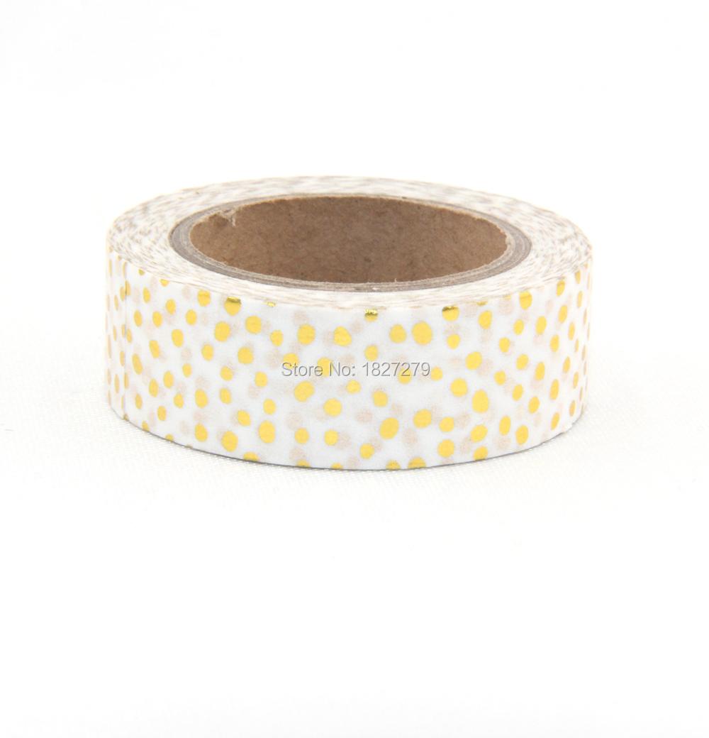 Hot sales!! 10m Gold Foil decorative scotch tape dot, pineapple,heart, strip masking Christmas Japanese washi tape