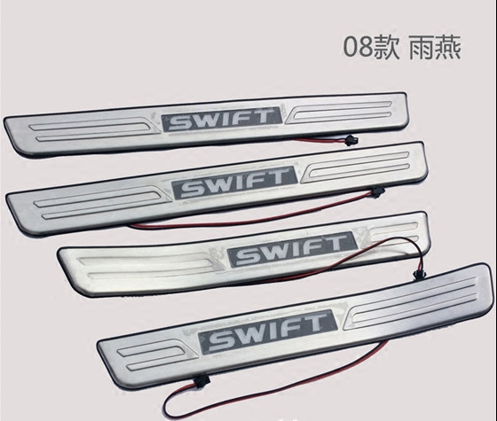 2008-2012 Suzuki Swift 304 Stainless steel LED Scuff Plate/Door Sill Door Sill Car styling(China (Mainland))