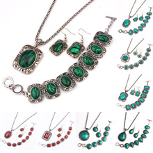 Vintage Silver Plated Jewelry Sets Women Natrual Turquoise Necklace Bracelet Earrings Wedding Party Gift Christmas Promotion (China (Mainland))