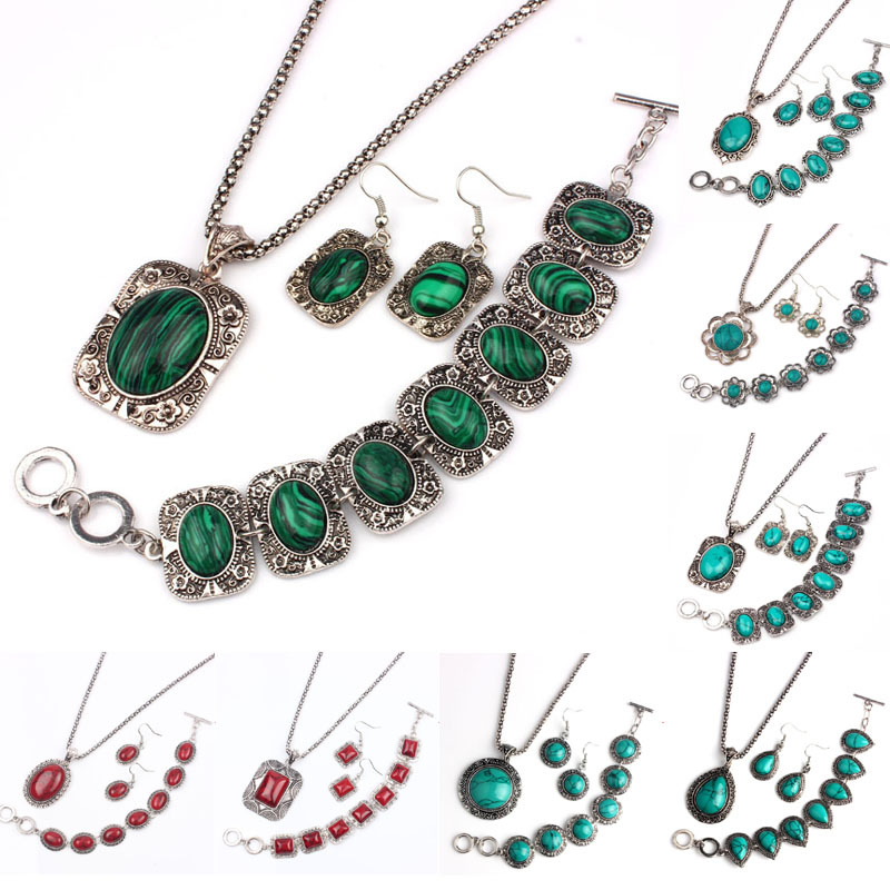 Vintage Silver Plated Jewelry Sets Women Natrual Turquoise Necklace Bracelet Earrings Wedding Party Gift Christmas Promotion(China (Mainland))