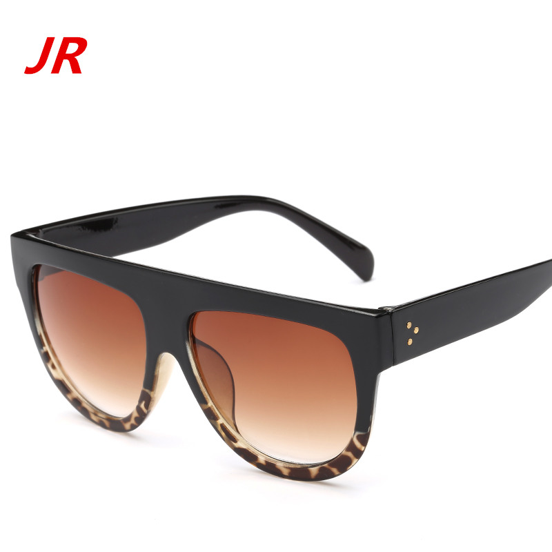 2017 brand metal hinge flat top retro womens sunglasses large gradient frame sun glasses classic men