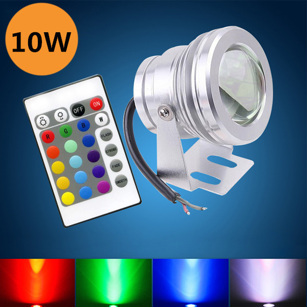Luxury Illumination RGB Remote Control Colorful Belt Button Cell Fountain/Pond Decoration DC12V IP68 10W Led Underwater Lights(China (Mainland))