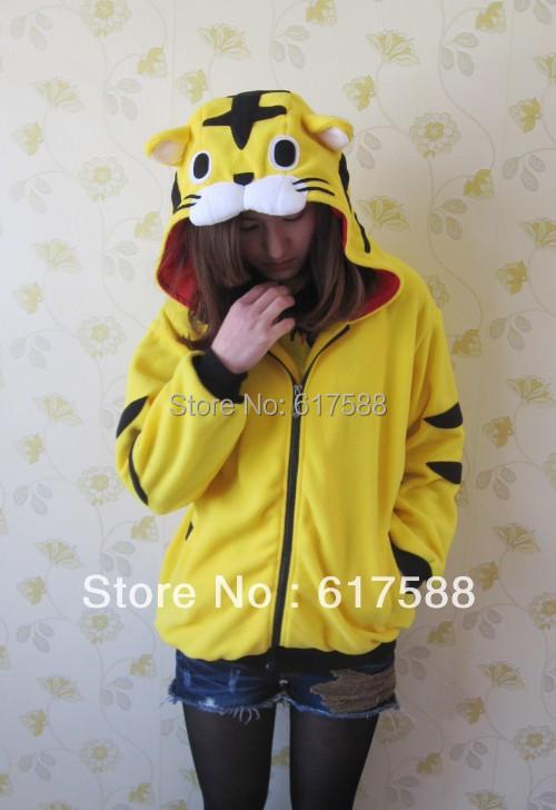 Winter Warm Women Cute Cartoon Funny Anime Animal Ear Yellow Tiger Hoodie Hoodies Sweatshirt Funny Lilo & Tiger Jacket Fleece(China (Mainland))
