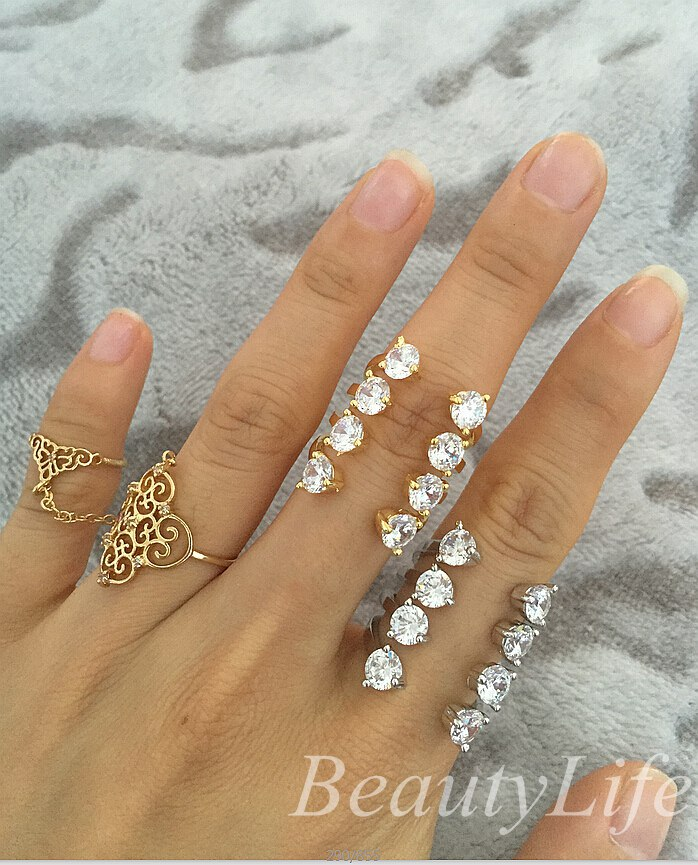 Women Wedding Zircon Crystal Double Finger Ring all match Austrian Crystal women ankle wedding finger ring(China (Mainland))