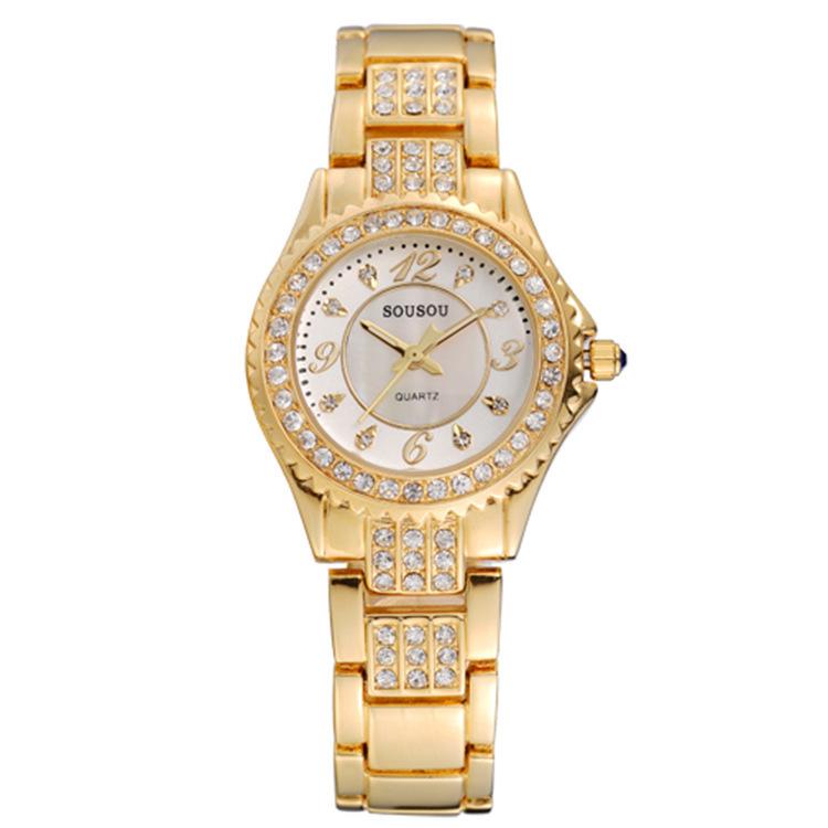 original luxury woman watch full diamond mother pearl dial gold plating quartz hand clock women elegant - Gnomon Industry Co., Ltd store