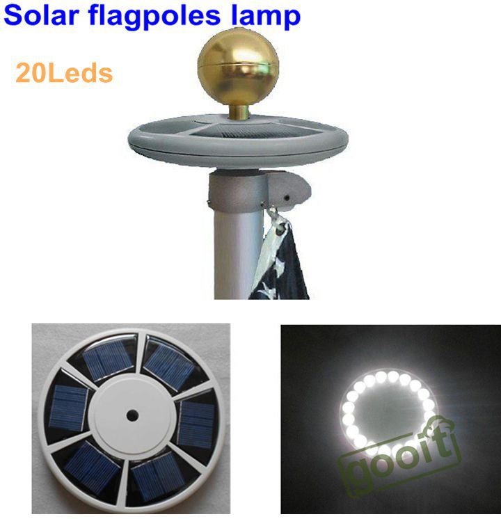 high brightness 20 led solar powered flag pole light solar outdoor. Black Bedroom Furniture Sets. Home Design Ideas