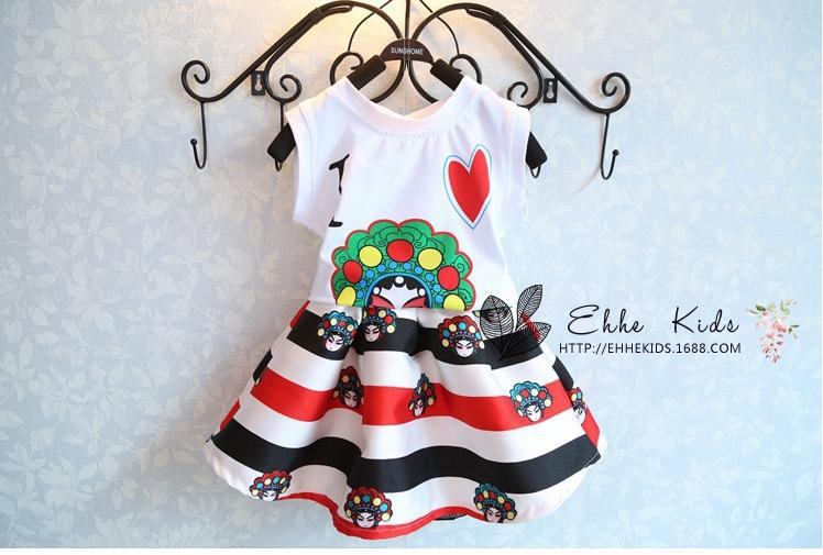 New Summer Children's Clothing Baby Girl Chinese style Face Book Printing Cotton vest + Tutu Skirt Kids Two Pcs Set / white(China (Mainland))