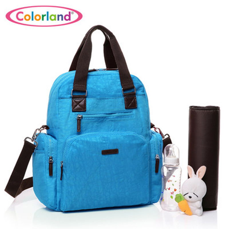Fashion solid colors Large capacity waterproof Nylon Nappy backpack font b maternity b font Nursing baby