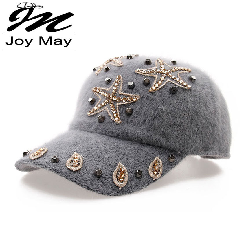 Free shipping fashion winter hat candy solid color rabbit fur baseball cap Women's Autumn and Winter cap W006-011(China (Mainland))