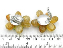 Citrine Freshwater Pearl Pink Coral Flower Clip Earrings(China (Mainland))