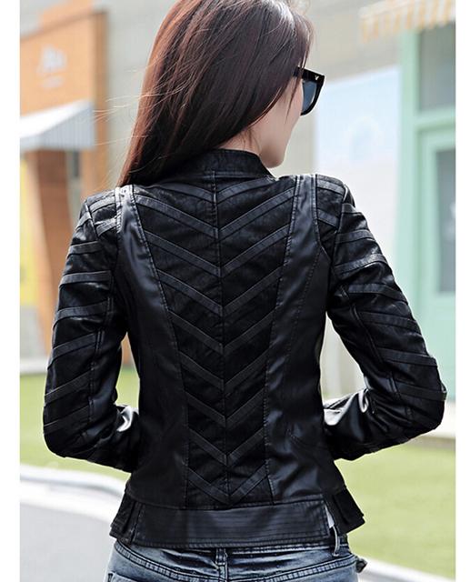 Motorcycle leather stitching 2015 spring autumn leather coat female patchwork Короткий ...