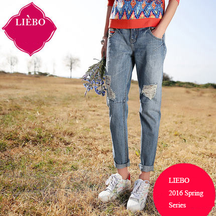 LIEBO 2016 Spring Embroidery Ankle-Length Jeans Pants Women Ripped Hole Light Blue Denim Pants Straight Regular Type 51151685Одежда и ак�е��уары<br><br><br>Aliexpress