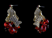Lady's crystal Drop Earrings red color czech stone fashion party earrings  bridal rhinestone earrings Delicace Gift
