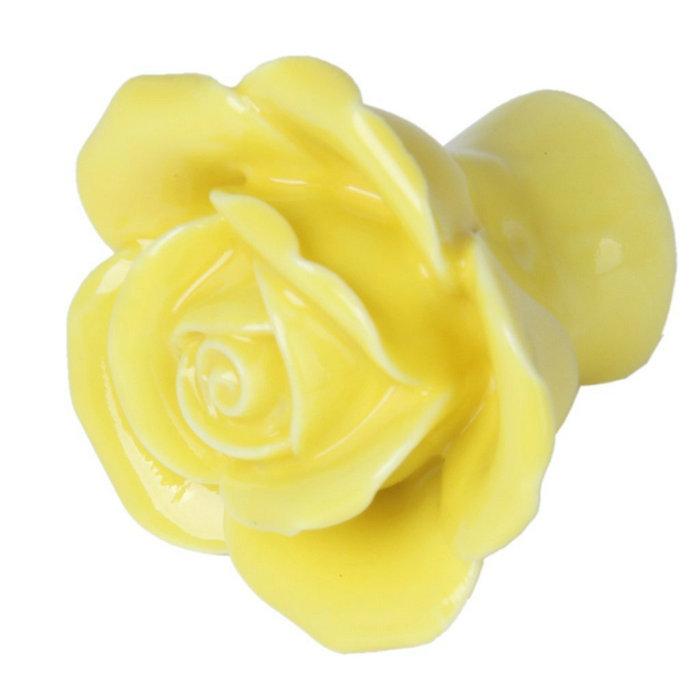 Retro Yellow Rose Flower Ceramic Cabinet Door Knob Children Drawer Dresser Handles pull Kitchen Cupboard Porcelain Handle(China (Mainland))