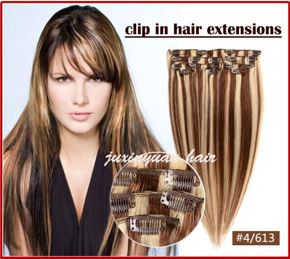 7A-16-26 140g /set one piece clip in 100% remy indian hair extensions full head set THICK! dhl free shipping<br>