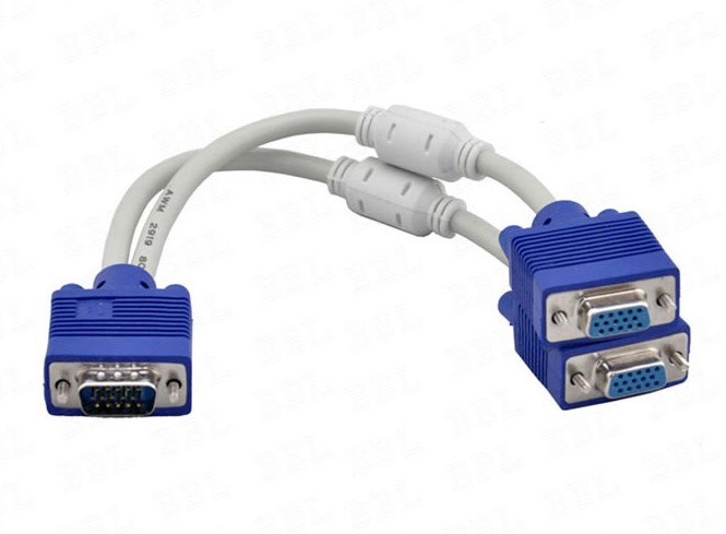 high quality 1 computer to dual 2 monitor vga splitter cable video Y splitter 15 pin two ports vga male to female(China (Mainland))