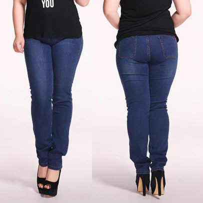 Free Shipping Women Plus Size Jeans Elastic Sexy Pencil Pants Cotton Denim Slim Long Trousers For Plump Ladies Big Plussize 5XL(China (Mainland))