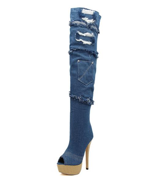 Big Size35-43 High Quatity 2014 Fashion Peep Toe And Denim Tassel