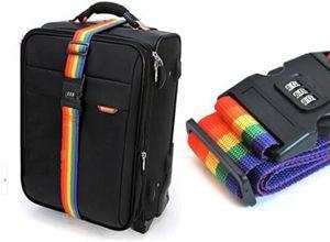 Free Shipping! 1pcs Minorder Rainbow Travel Luggage Suitcase Strap Luggage suitcase Secure Lock Safe Belt Strap 2m baggage Belt(China (Mainland))