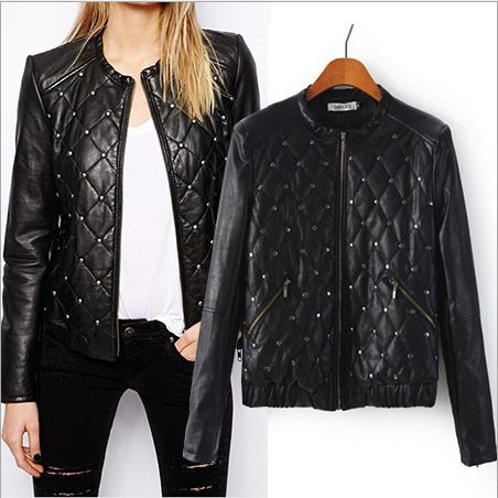 2014 Hot Sell Winter Women Motorcycle Jackets Hand Quilting Rivets Punk PU Leather Jacket WomenОдежда и ак�е��уары<br><br><br>Aliexpress