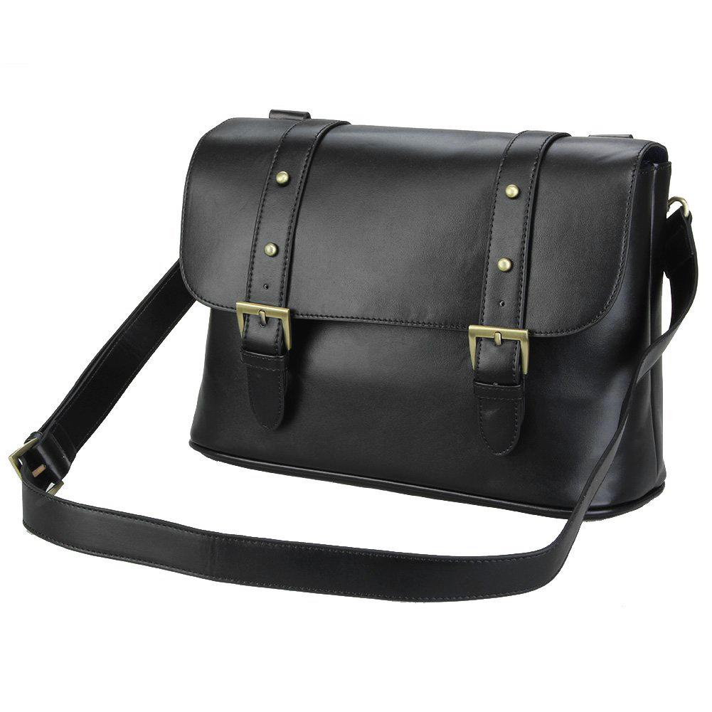 Professional Waterproof Vintage fashionable PU Leather DSLR Camera Bag Shoulder Messenger Bag Fit DSLR with 2 lenses Black(China (Mainland))
