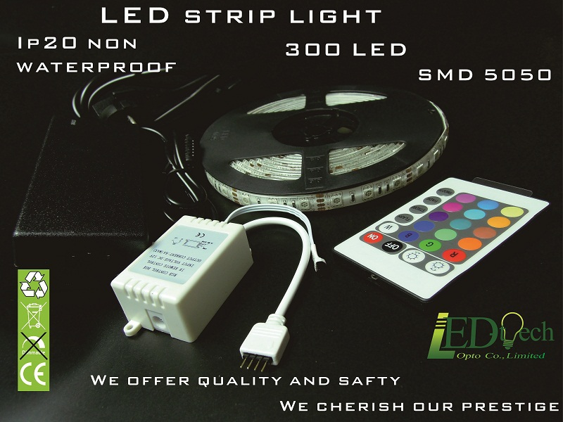 Wholesale DC 12V flexible LED strip 300 pcs SMD 5050 colorful LED strip IP20 non waterproof 24 remote control LED strip(China (Mainland))