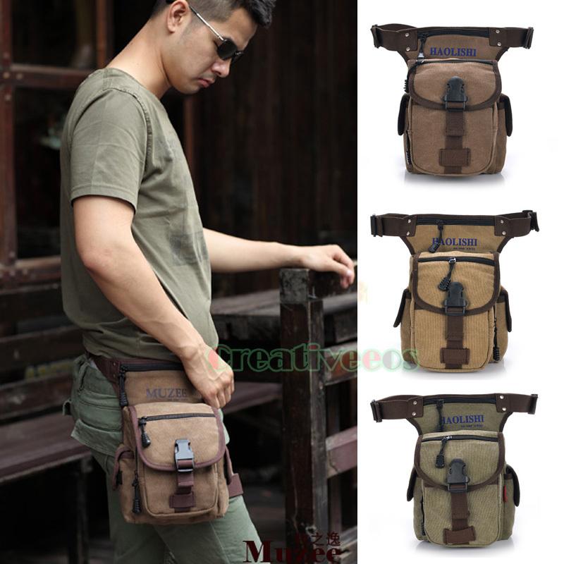 Men's Canvas Military Tactical Travel Hiking Motorcycle Hip Bum Belt Fanny Pack Waist Leg Thigh Drop Casual Bag(China (Mainland))