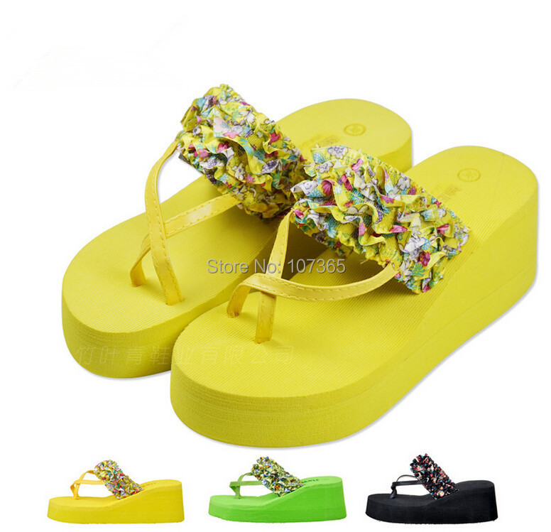 2015 Fashion summer rose lace Floral cool bathroom high heel pantshoes slippers occupy home antiskid cute flip-flops - MM's Club store