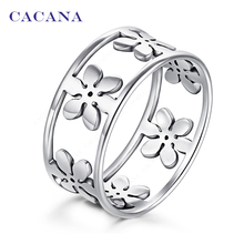 CACANA stainless steel rings for women Five petals fashion jewelry wholesale NO.R166(China (Mainland))