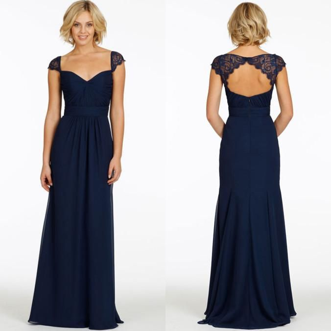 2015 cheap with cap sleeves v neck chiffon long navy blue for Cheap long sleeved wedding dresses