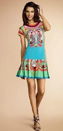 Women's Italian Famouse Brand Dress Colorful Printed Signature Short Sleeve Summer Jersey Silk Dress(China (Mainland))