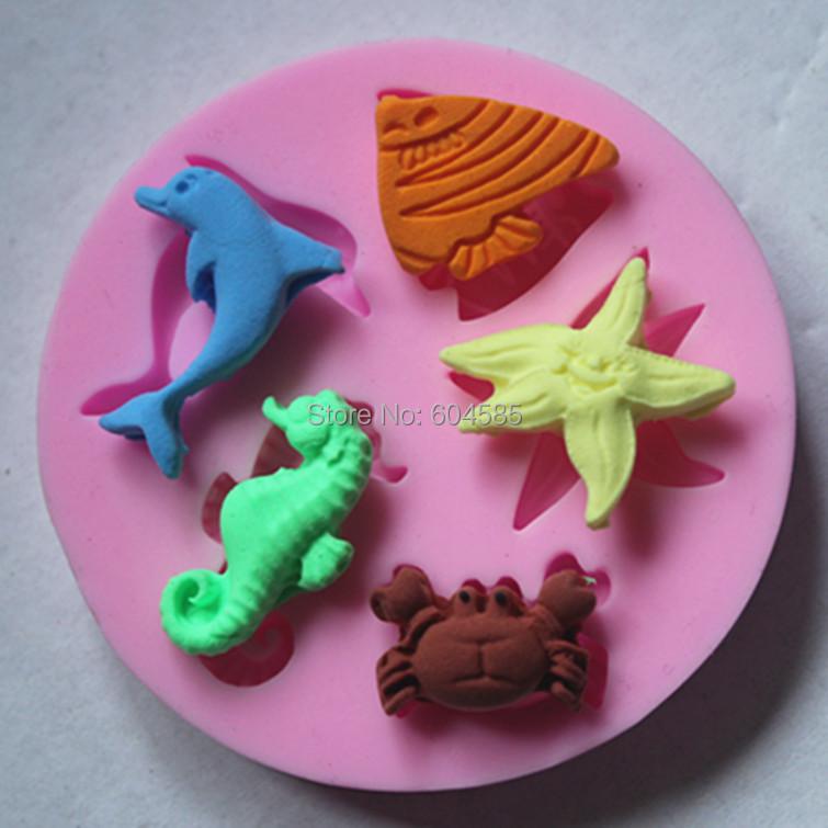Sticking Cake Decorations On Fondant : Aliexpress.com : Buy FM085 sea animal series Silicone 3D ...